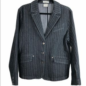 French Dressing Fitted Striped Jean Blazer Size 14